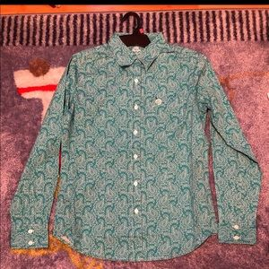 Turquoise Paisley Button Down